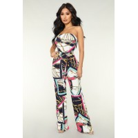 Women Can't Be Tamed Jumpsuit - Navy/Fuchsia Ring Belt Chain Print FPFGAER