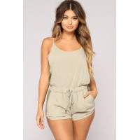 Women Doing Some Errands Romper - Olive Scoop Neck Drawstring NQNTVQN