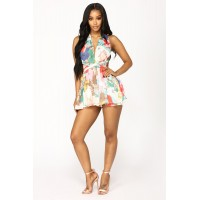 Women Everlasting Flower Multi Way Romper - Multi Floral Print Elastic Waist QCJLQOS