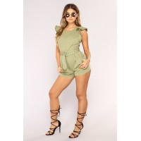Women Jonelle Romper - Olive Frayed Detail Belted CRPBHFT