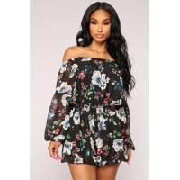 Women Super Flower Romper - Black Off Shoulder Long Sleeve CUNZEDE