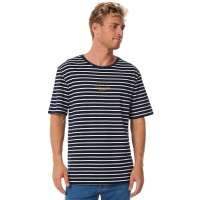 RHYTHM Hary Stripe Mens Tee NAVY BLUE Short sleeve  IQLKMBV