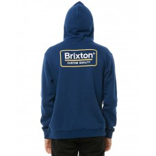 BRIXTON Palmer Mens Hood Fleece DEEP BLUE Front kangaroo pocket TGECGCC
