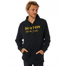 BURTON Durable Good Zip Mens Hoodie TRUE BLACK Screen printed chest logo OSTJABO