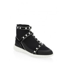 Valentino Garavani Rockstud Leather Sneakers Black White 0400095547307 IPQGIDE