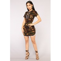 Women All Eyes On You Camo Dress - Camo Binding Camo Print WTYLJRG