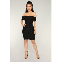 Women Chennai Ruched Dress - Black Off Shoulder Sleeveless BDEAKUA