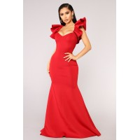 Women Salty Babe Mermaid Dress - Red Ruffle Detail On The Back Mermaid Fit KHTLFRD