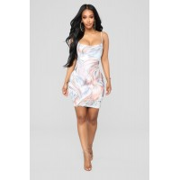 Women Stormy Winds Mesh Dress - Multi Stretch Mesh Fully Lined LIWKYRY