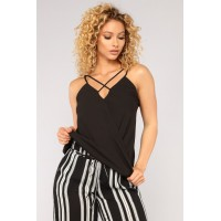 Women Flaming Sambuca Surplice Top - Black BDCXVCE