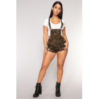 Women Call To Action Shortalls - Camo Double Side Stripe Stretch Denim SKCEIBU