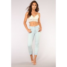Women Unravelled High Rise Boyfriend Jeans - Light Blue Wash Stretch Denim Release hem EUGITEP