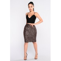 Women Glitz Factor Midi Skirt - Black Rose Double Fabric Self: 60% Polyester 40% PET YVGEDFN