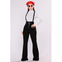 Women Jump In The Ring Jumpsuit - Black Wide Leg Overalls Knit Crepe Material KPVPCXZ