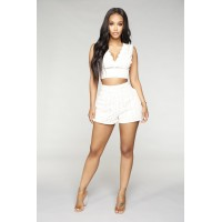 Women Find Your Wings Shorts - Ivory Shorts Pair With